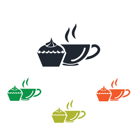 supper: Cup of tea with dessert icon