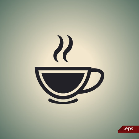 boiling water: Cup of warm liquid icon Illustration