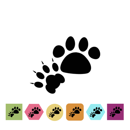 cat dog: Cat and dog paws print icon