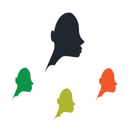 forehead: Women profile icon Illustration