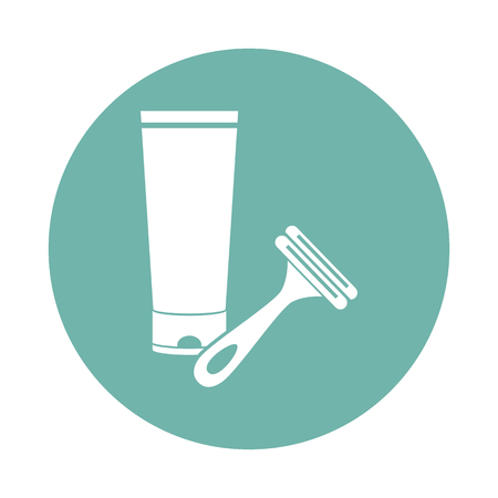 shaving cream: Shaving cream and razor icon Illustration