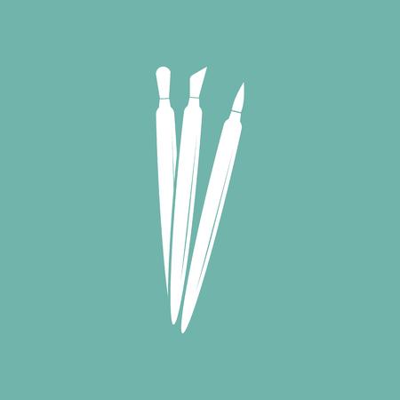 lint: Set of cosmetic brushes icon Illustration