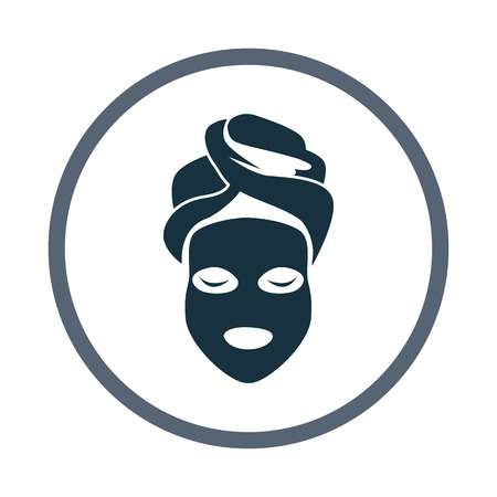 facial massage: Cosmetic mask icon Illustration