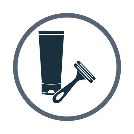 razor: Shaving cream and razor icon Illustration