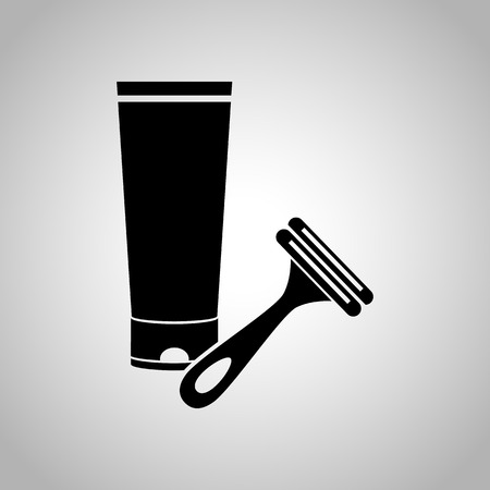 armpit hair: Shaving cream and razor icon Illustration