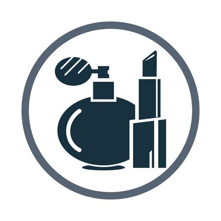 moisturizing: Women lipstick and perfume icon