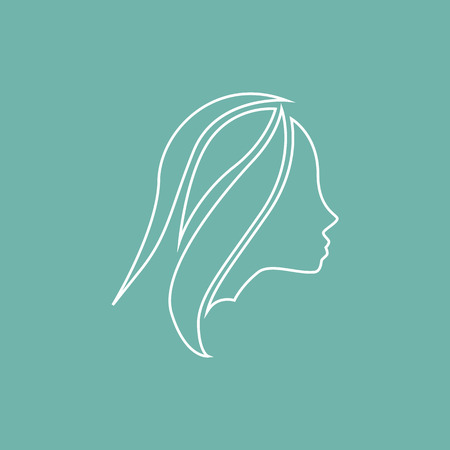 Girl styling hair icon