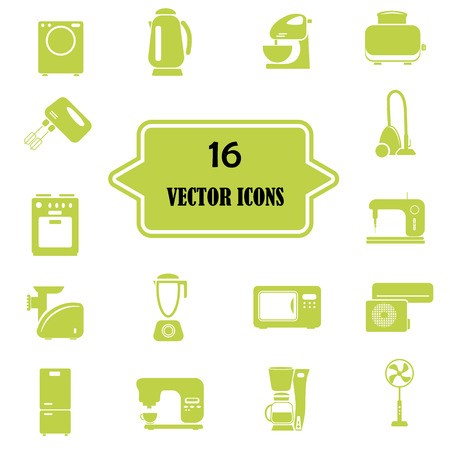 sign maker: Set of sixteen  household appliances icons Illustration