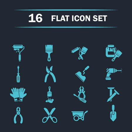 putty knife: Set of  sixteen construction icons