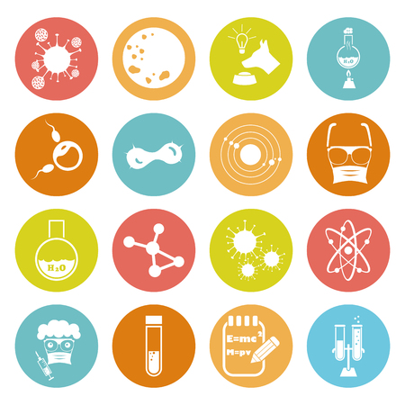 sixteen: Set of  sixteen science icons Illustration