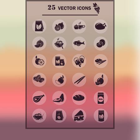 fruit plate: Set of twenty five food icons