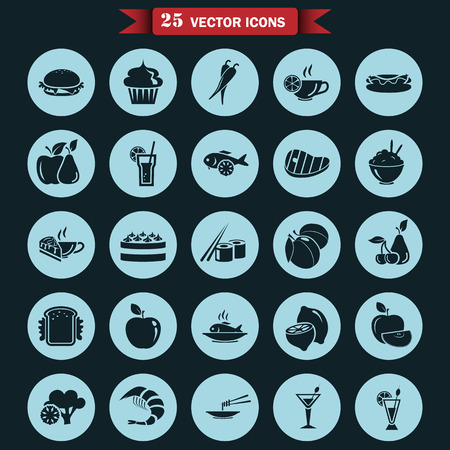 shrimp cocktail: Set of twenty five food icons