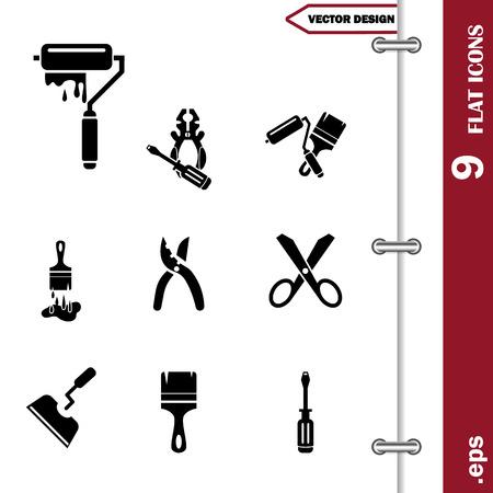secateurs: Set of  nine construction icons