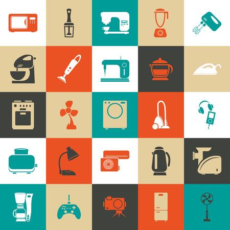 fridge lamp: Set of twenty five  household appliances icons Illustration