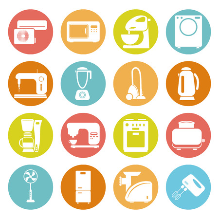 appliances icons: Set of sixteen  household appliances icons Illustration