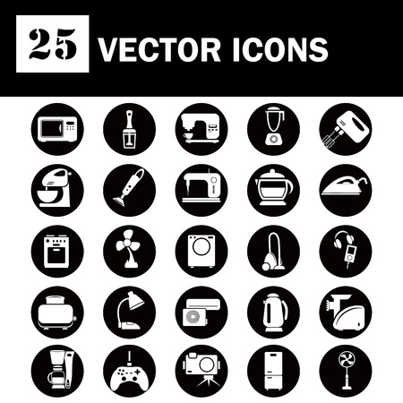 appliances icons: Set of twenty five  household appliances icons Illustration