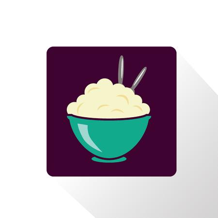 pure de papas: Puré de patatas icono Vectores