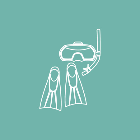 flippers: Diving flippers and mask icon Illustration