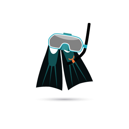flippers: M�scara y aletas para buceo icono Vectores