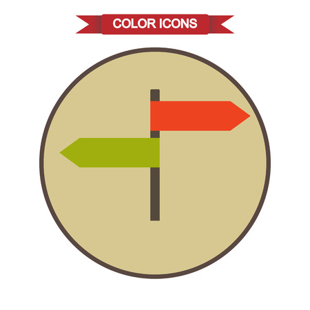 two roads: Pointer plates icon Illustration