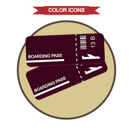 plain: Plain boarding pass icon Illustration