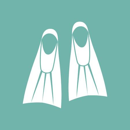 flippers: icono de aletas de buceo Vectores
