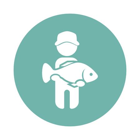 atrapar: Pescador captura icono de peces grandes