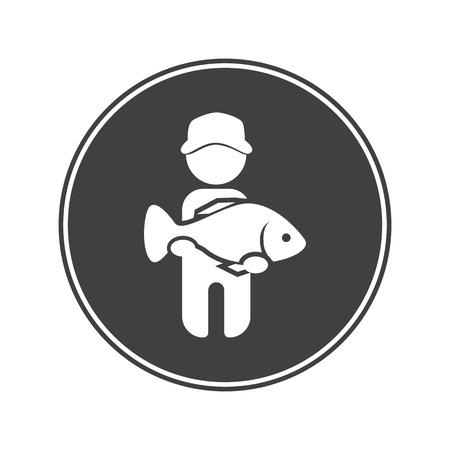 by catch: Pescador captura icono de peces grandes