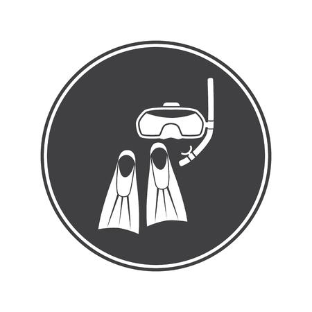 flippers: aletas de buceo y el icono de m�scara Vectores