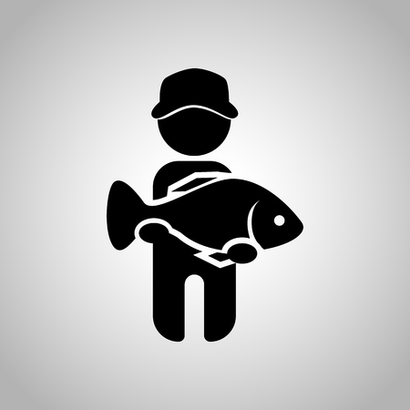 big fish: Fisherman catch big fish icon