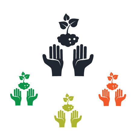 hand tool: Human care under the plants icon
