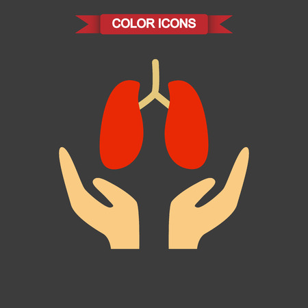care: Lungs care color icon