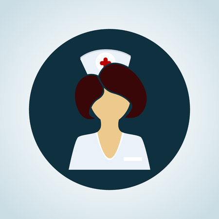ladies bust: Nurse color icon Illustration