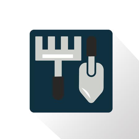 rake: Color illustration of rake and shovel