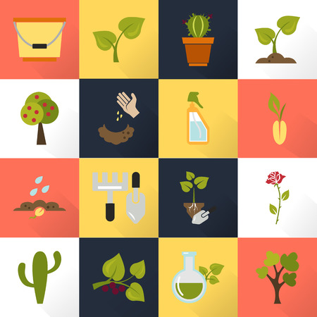 sixteen: Set of sixteen color agriculture icons