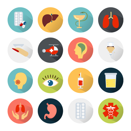 sixteen: Color set of sixteen medicine icons