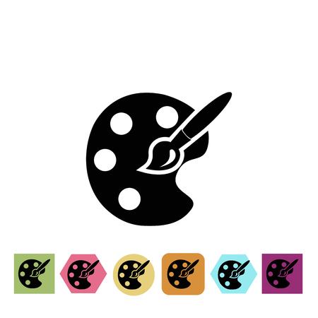 Palet en penseel pictogram Vector Illustratie