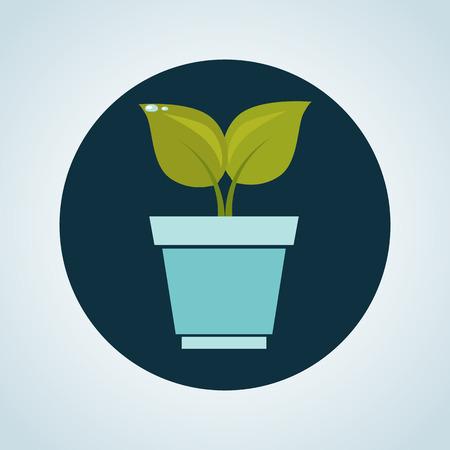 gree: Color illustration of plant in a pot Illustration