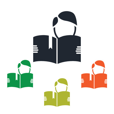 student reading: Student reading a book icon Illustration