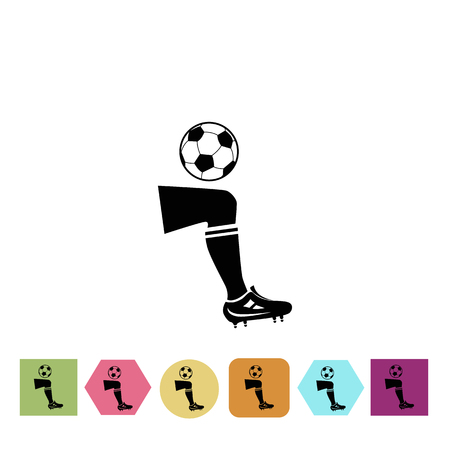 gaiters: Football player leg with ball icon Illustration