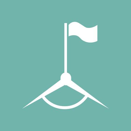 footbal: Footbal field flag icon Illustration