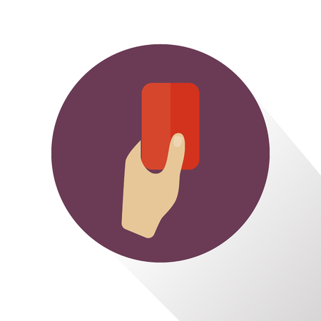 soccer referees hand with red card: Illustration of red card icon