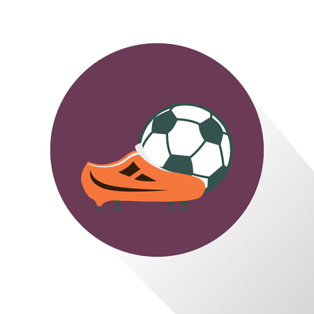 Color illustration of football boot and ball