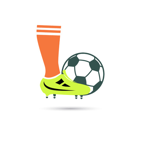 Color illustration of football player leg and ball Иллюстрация