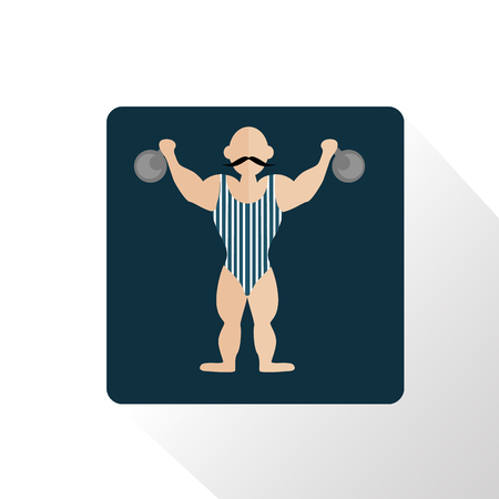 strongman: Color circus strongman icon Illustration