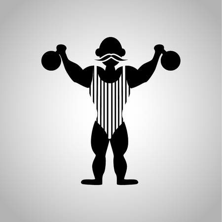 strongman: Circus strongman icon Illustration