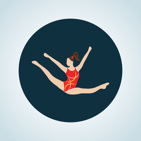 flexible girl: Color circus gymnast icon Illustration