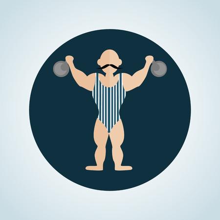 strongman: Color circus strongman icon Illustration