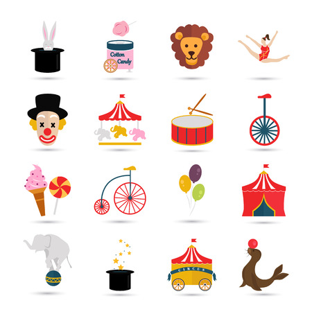 sixteen: Set of sixteen color and bright circus icons