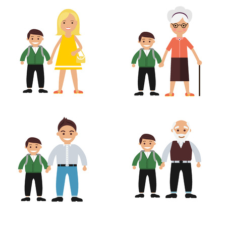 grandchild: Color set of family that takes student to school Illustration